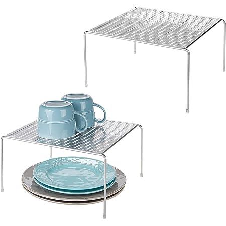 mDesign étagère cuisine (lot de 2) – rangement cuisine autoportant en métal – petit range vaisselle de cuisine pour tasses, assiettes, aliments, etc. – couleur argenté