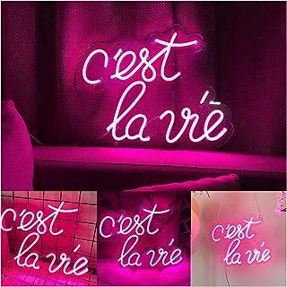 Neon Lights, Custom Cest La Via Neon Signs, Light up Signs for Wall Art Decor Led Home Room Decoration (Size : 33 * 40cm)