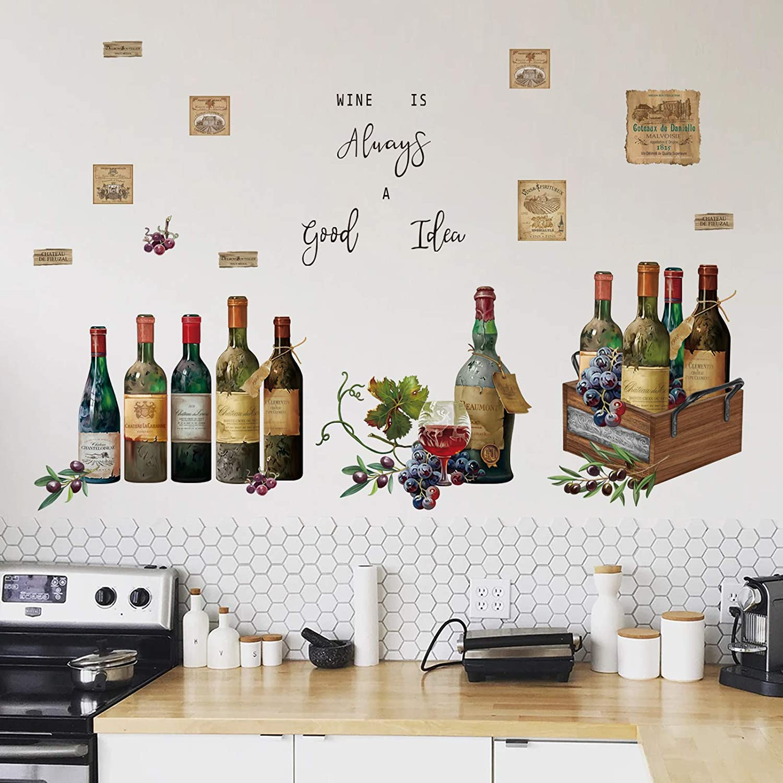 decalmile Pegatinas de Pared Cocina Botella De Vino Vinilos Decorativos Frases Fruta Adhesivos Pared Comedor Sala Salón Armario
