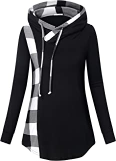 Messic Women's Funnel Neck Check Contrast Tunics Lightweight Pullover Hoodie Top