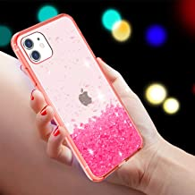 Facweek iPhone 11 Case,Clear Crystal Bling Glitter Sequin Soft Silicone TPU Hard Back Ultra Thin Shockproof Girls Women Cu...