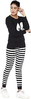 Shocknshop Black Printed Cartoon Tee & Striped Leggings Pants Tracksuit Set for Women (WPAJA05)