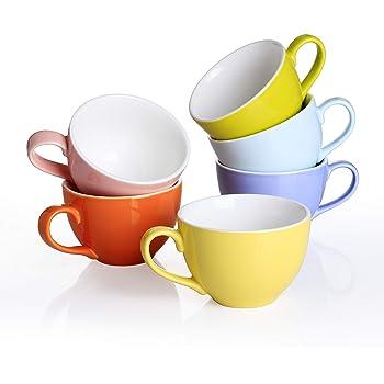 Panbado Juego de Tazas de Porcelana de 6 Piezas Tazas de Cerámica de 6 Colores Tazas de Café/Té para Desayuno, Fiesta, Oficina, 375 ml (14,5 * 11,3 * 7,5 cm), Regalo para Cumpleaños, Festival: Amazon.es: Hogar