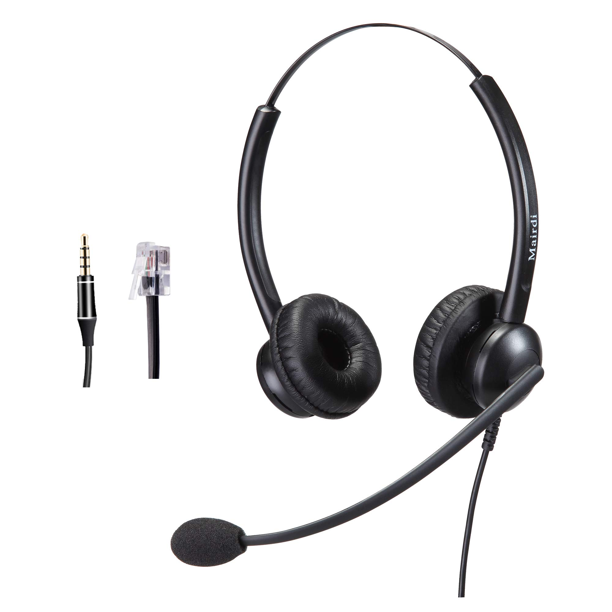 Amazon Com Telephone Headset With Rj9 Jack For Phone Mono With Noise Cancelling Microphone Plus Extra 3 5mm Connector Compatible With Avaya Nortel Polycom Home Audio Theater