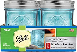 Ball Regular Mouth Elite Collection Half Pint Mason Jars with Lids and Bands, 8-Ounces, Blue (4-Pack)