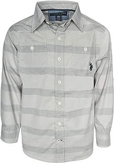 Boys Long Sleeve Woven Button Down Shirt, Light Grey,...