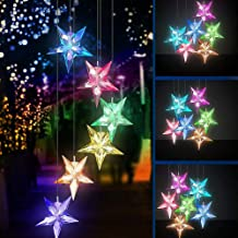 Yooda Color Changing Solar Power Wind Chime Blue Star LED Wind Chime Wind Mobile Portable Waterproof Outdoor Decorative Romantic Wind Bell Light for Patio Yard Garden Home