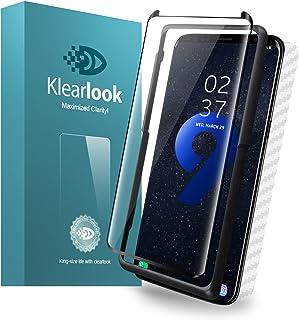 Galaxy S9 Plus用強化ガラスフィルム 「ケースに干渉せず・透過率99%」 タッチ感度良好 S-PENに対応 (ガラス液晶面1枚+カーボン繊維背面1枚+貼付け易い道具1枚) (S9 Plus)