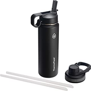 Thermoflask 50050 Double Insulated Stainless Steel Water Bottle with Chug Straw Lid, 24 oz, Black