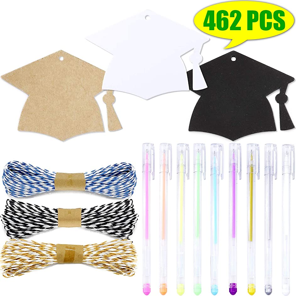 WooKun 450 Pcs Graduation Season Gift Tag with Black Bachelor Hat Gift Tags,32.8 Feet Lafite Straw Rope and 9 PCS Color Pens for Graduation Gift Wrapping (Black+White+Kraft Paper)