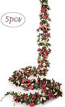 Felice Arts 5 Pack Fake Rose Vine 8.2 FT, Artificial Flowers Hanging Rose Garland Artificial Rose Wisteria Ivy Hanging Vine for Home Wedding Market Garden Decoration (Pink)