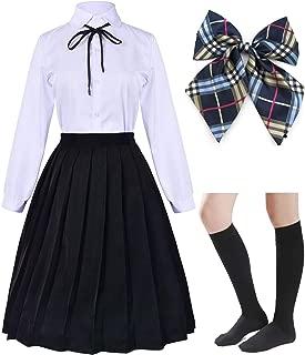Long Dress Classic Japanese School Girls Sailor Shirts Pleated Skirt Uniform Anime Cosplay Costumes with Socks Set(SSF20.21)