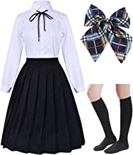 Long Dress Classic Japanese School Girls Sailor Shirts Pleated Skirt Uniform Anime Cosplay Costumes with Socks Set(SSF20.21)
