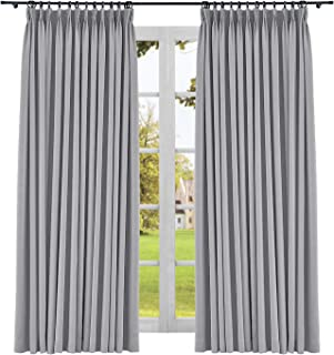 CosyPages Pinch Pleated Luxury Linen Polyester Curtain Lined Blackout Curtains for Traverse Rod and Track 50W x 96L(1 Panel) Rock Grey