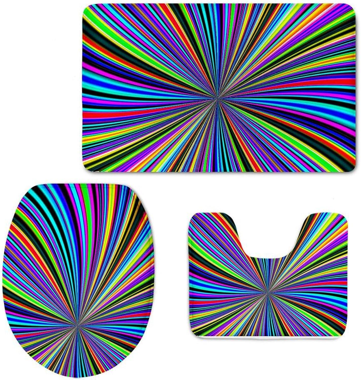 ORT-ART 3 Stück Bad Matte Set Flanell Rutschfeste Farbige licht Wellen Toilette DREI Sätze Teppich Sockel Deckel Matte Toilettendeckel, B B07Q3D5122