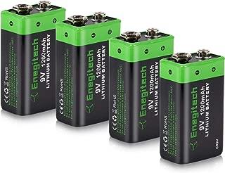 9V Lithium Battery, Enegitech 4 Pack 1200mAh Non-Rechargeable Li-ion Battery for Smoke Detector Fire Alarm Multimeter