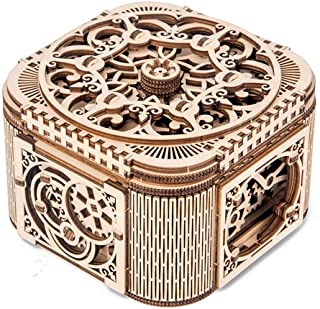 Rompecabezas de madera 3D IQ Game Machinery 3D Rompecabezas de madera Caja de tesoro de corte por láser 3D Rompecabezas de madera DIY Caja de tesoro de regalo de San Valentín Adecuado para tu amante f
