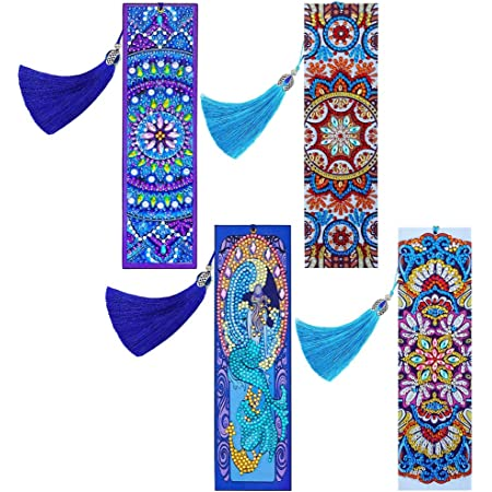 MWOOT 2 Pieces 5D Diamond Painting Bookmark,Mandala Leather Diamond Dotz Book Marks with Tassel,DIY Beaded Rhinestone Pasted Bookmarks for Home Office School Mosaic Making Arts Crafts Gift