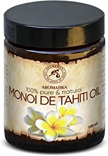 Monoi de Tahiti Oil Cold Pressed 3.4oz - 100% Pure and Natural - Base Oil Multi-Functional - France - for Face Care - Body - Hair - Anti-Wrinkle - Anti-Aging - Massage