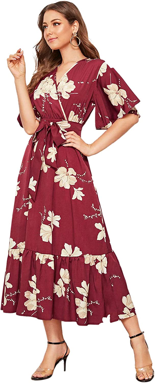 SweatyRocks Women's Boho Wrap V Neck Floral Ruffle Hem Peplum Long Dresses with Belt