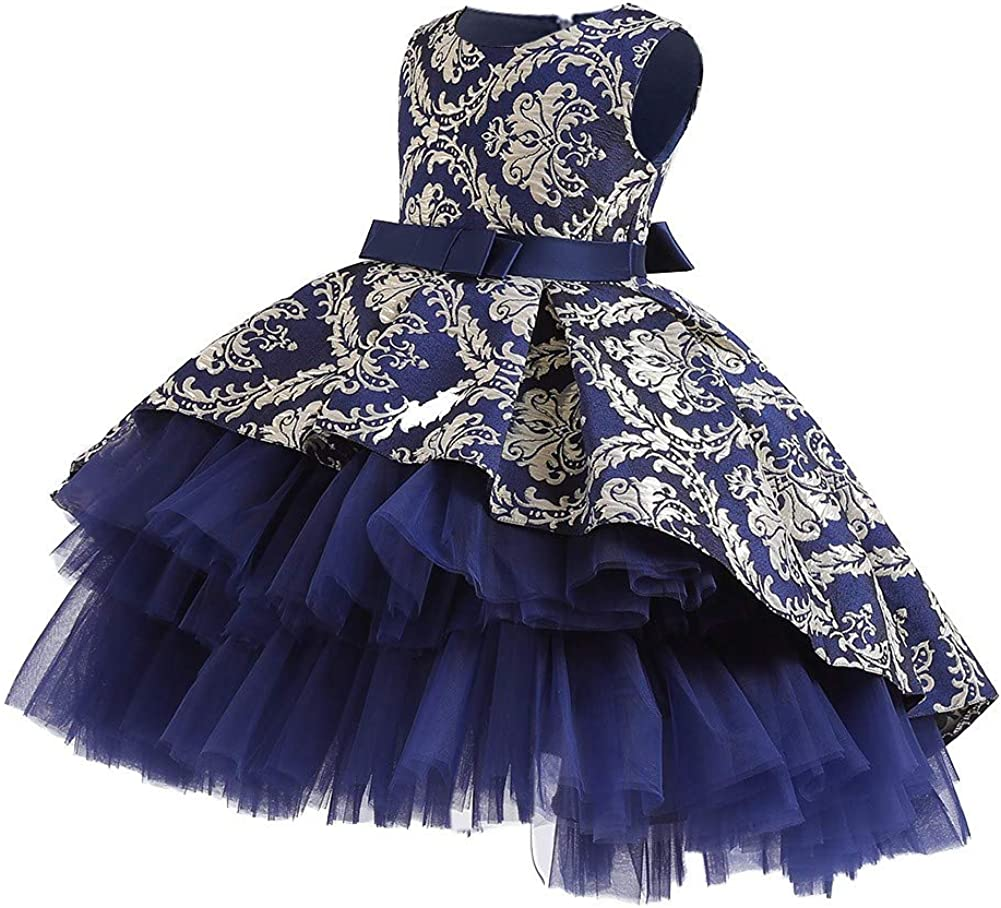WOCINL Flower Girls High Low Tulle Dress Vintage Jacquard Princess Pageant Birthday Party Wedding Prom Evening Dance Gown