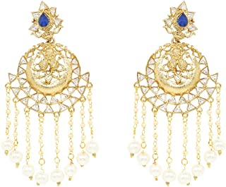 Ratna Indian Ethnic Exclusive Bollywood Designer Gold Plated Polki Earring set Tassel in Blue Color