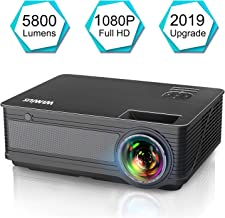 """Projector, WiMiUS P18 Upgraded 5800 Lumens LED Movie Projector Support 1080P Full HD 200"""" Display Compatible with Amazon Fire TV Stick Laptop iPhone Android Phone Xbox PS4 Via HDMI USB VGA AV Black"""