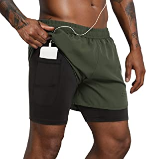 """Lulucleaf Men's 2 in 1 Running Shorts Lightweight Workout Athletic Gym 5"""" Short with Phone Pockets"""