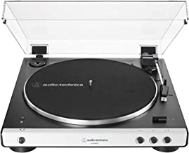 Audio-Technica AT-LP60XBT-WH Fully Automatic Bluetooth Belt-Drive Stereo Turntable, White/Black, Hi-Fidelity, Plays 33 -1/3 and 45 RPM Records, Dust Cover, Anti-Resonance, Die-cast Aluminum Platter