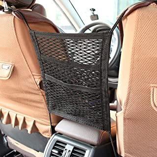 MagiqueW Car Seat Storage Mesh/Organizer - 3 Lays Back Seat Elastic Cargo String Net Pouch Holder for Bag Luggage Pets Kids Barrier Disturb Stopper