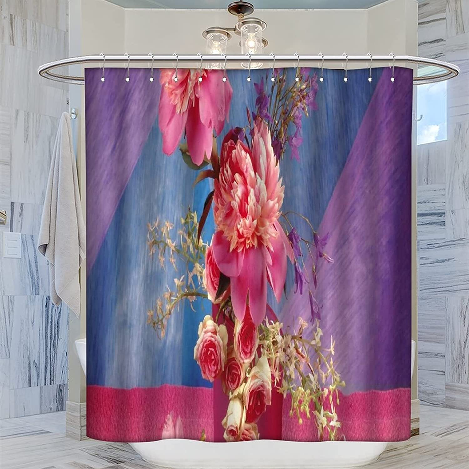 Colorful Flowers Popular Selling rankings Shower Be super welcome Curt Curtain Bathroom Decorative