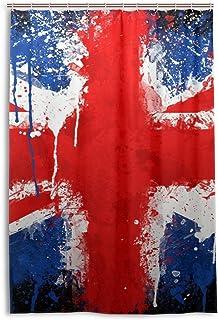 Nataxシャワーカーテン 防水防カビ加工 カーテンリング付属120x180CMイギリスの旗浴室 洗面所 目隠し用 間仕切り おしゃれ バス用品 カーテンリング付属 ホテル用雑貨 取り付け簡単