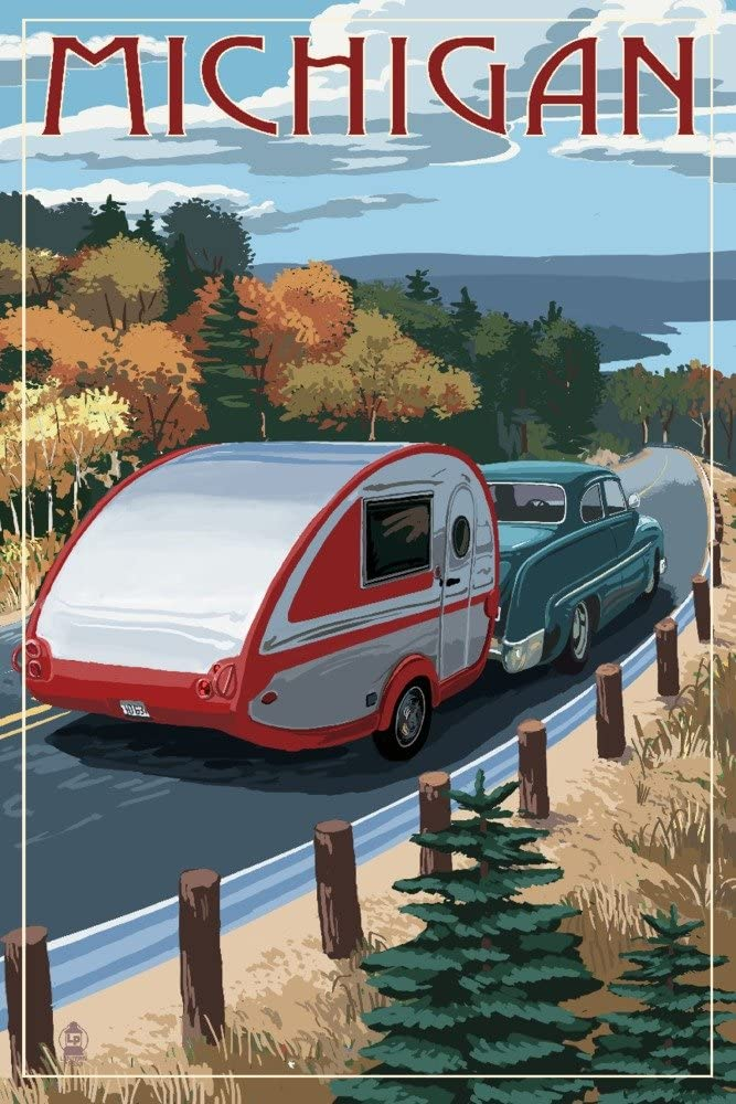 Michigan - Retro Camper on Wholesale Road Gallery Save money Wal Print 36x54 Giclee