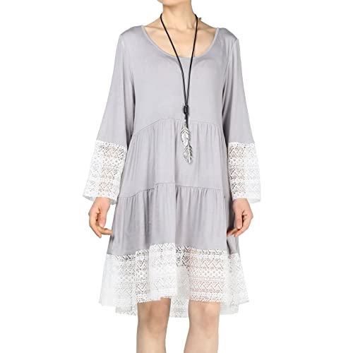 7448bb1fc95 Mordenmiss Women s Flared Tunics Dress Lace Trim Boho Shirts with Side  Pockets
