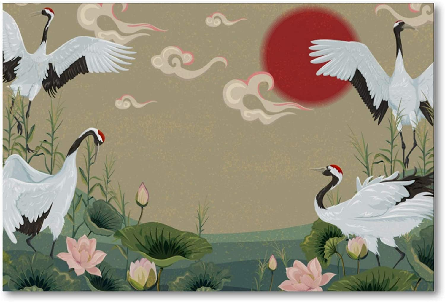 imobaby Purchase Wall Art Oil Painting Sunset Po In Courier shipping free Lotus Cranes Japanese