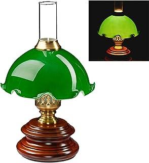 Relaxdays Lampe de chevet, Lampe de table, Art-nouveau, Bois, Eclairage de bureau, Lampe de banquier, HxD 34x21 cm, vert
