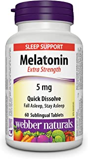 Webber Naturals Melatonin, Extra Strength, Quick Dissolve Tablet, 5 mg, 60 Count