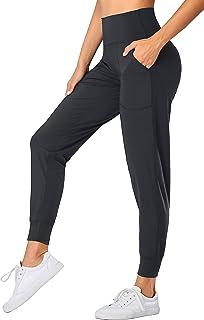 Oalka Women's Joggers High Waist Yoga Pockets Sweatpants Sport Workout Pants