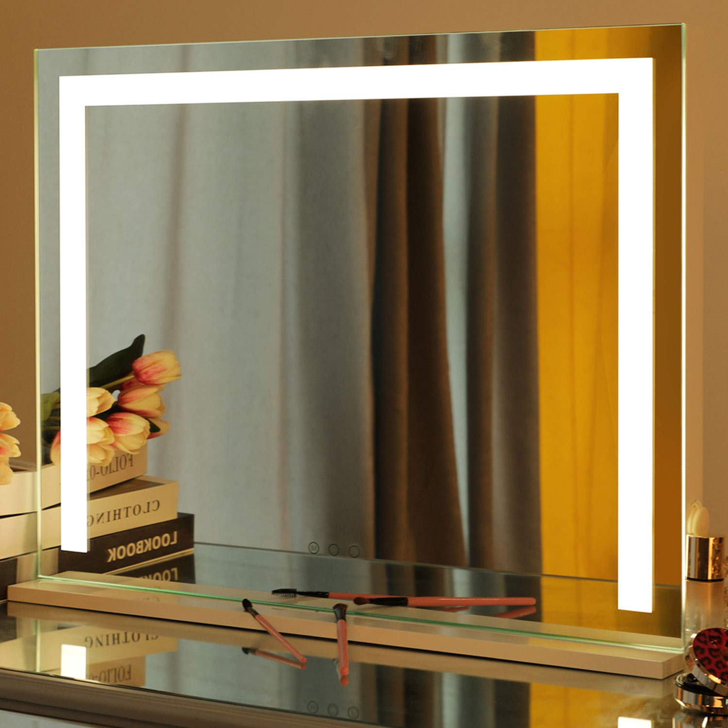 Large Vanity Mirror with 3 Color Modes - Hollywood Lighted Makeup Mirror with Dimmable Lights & USB Port, Tabletop/Wall Cosmetic Touch Control Beauty Cosmetic Mirror, 27.5