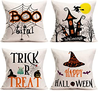 Fukeen Set of 4 Happy Halloween Quotes Throw Pillow Covers Welcome Witch Castle Pumpkin Spider Bat Pillow Cases Cotton Linen Boo Trick or Treat Ghost Farmhouse Decorations Cushion Cover 18x18 Inch