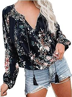 Womens Floral Print Sexy Shirt V Neck Long Sleeve Casual Boho Blouses Tops