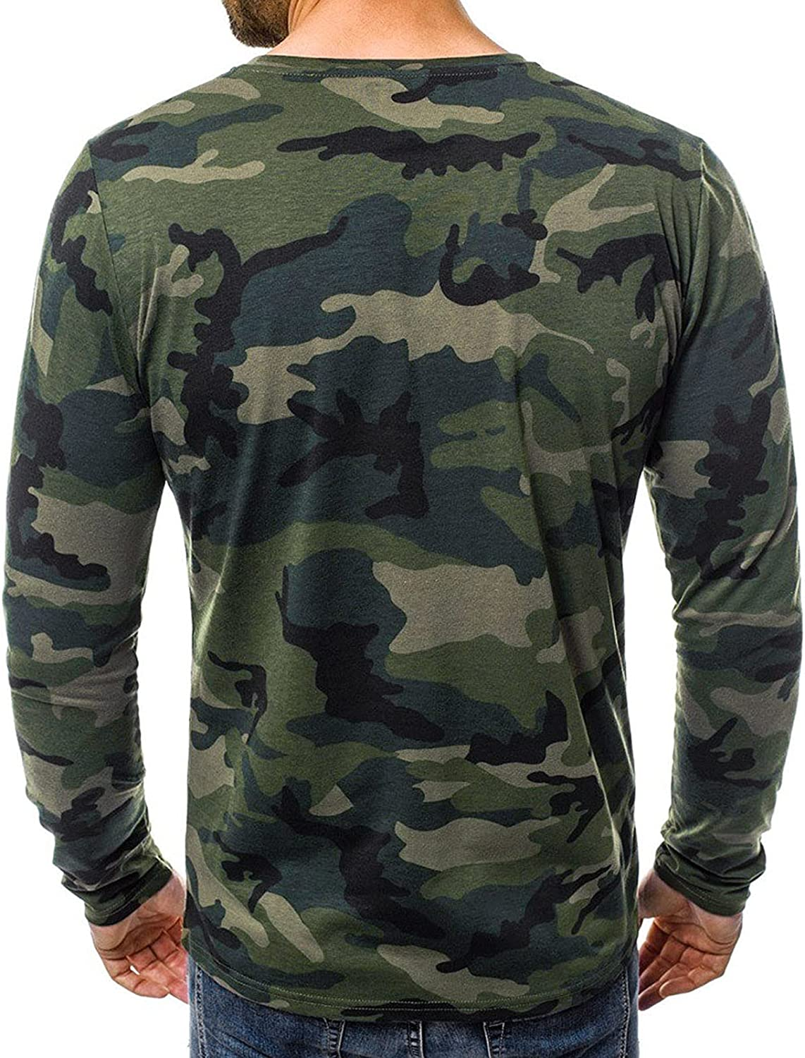 FUNEY Long Sleeve Tee Shirts for Men Crewneck Camo Performance Fishing Shirt Casual Fitness Stretch Military Tees Tops