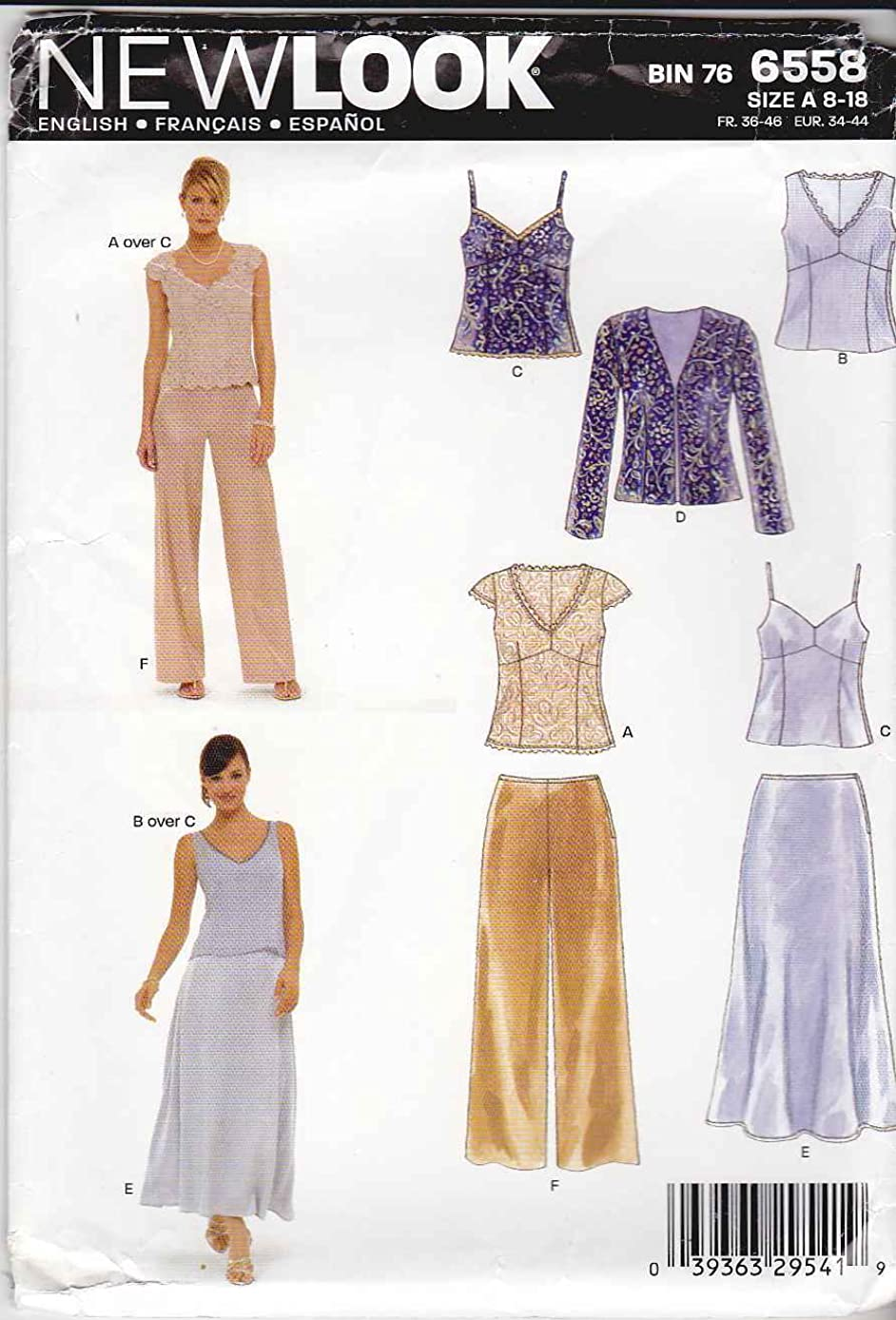 New Look Sewing Pattern 6558 Misses Special Occasion Dresses, Size A (8-10-12-14-16-18)