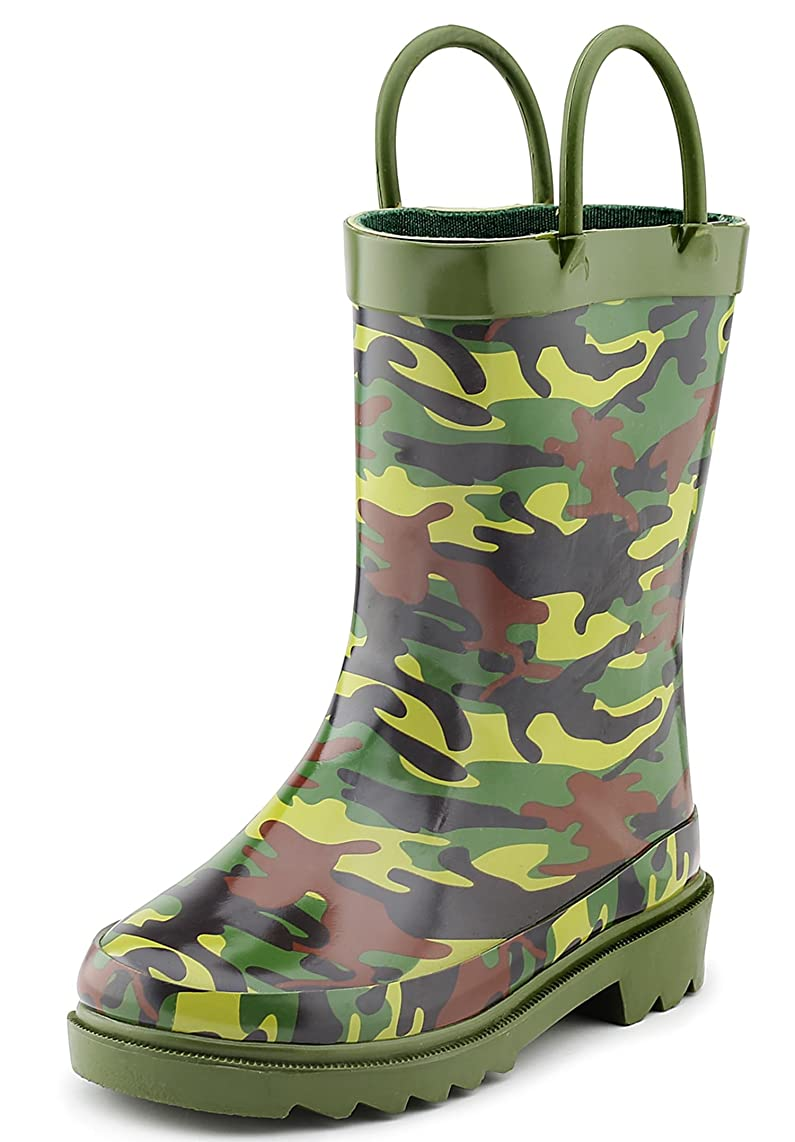 Puddle Play Camouflage Boys Green Rubber Waterproof Rain Boots (Toddler/Little Kids)