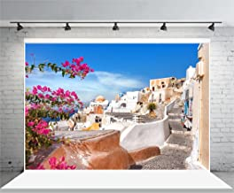 Laeacco Santorini Town View Greece 10x6.5ft Vinyl Backdrop Summer Sea House Landscape Resort Holiday Party Panoramic View Church White House Stairway Stone Blossoms Background Photo Studio Prop