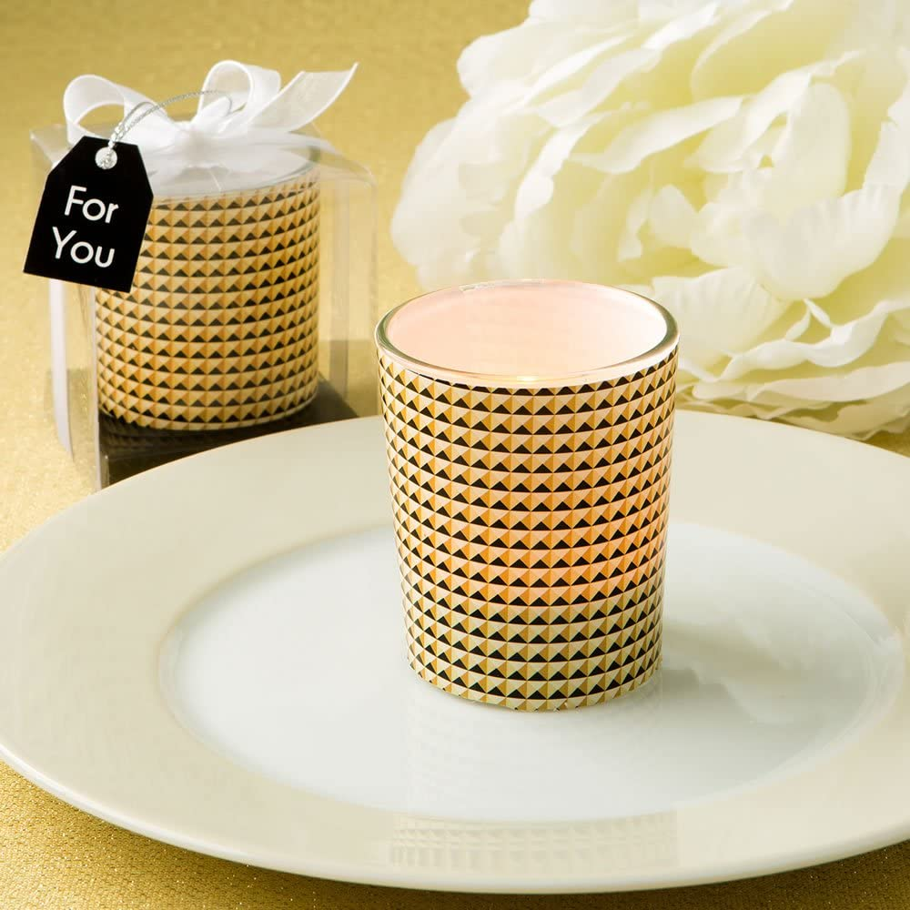 67% OFF of fixed price Modern Graphic Design Ranking TOP5 Glass Candle Votive 36 Holder In Gold