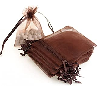 """Dealglad 100pcs Drawstring Organza Jewelry Candy Pouch Party Wedding Favor Gift Bags (3x4"""", Brown)"""