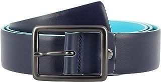 DUDU Cintura Uomo in Vera Pelle Morbida Made in Italy Bicolore H 34mm Accorciabile Stile Casual Blu da 125 cm