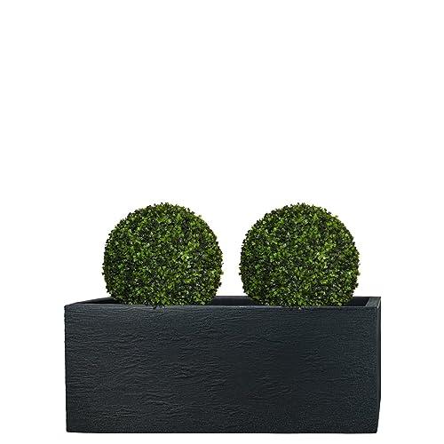 PFLANZWERK Pots de fleurs TUB Jardinière Anthracite Plastique 27x80x30cm *Résistant au gel* *Protection UV* *Qualité européenne*