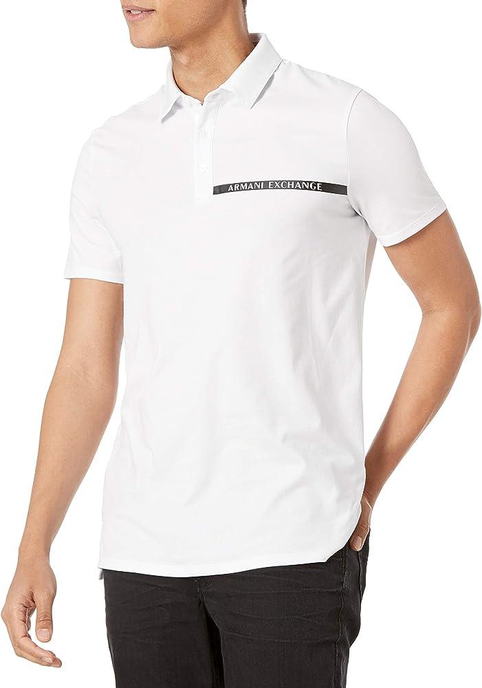 Armani exchange polo, maglietta per uomo, maniche corte, 95% cotone, 5% elastan 3KZFHAZJE6Z1400